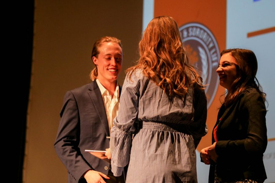 Lily Stephens accepts an award for Outstanding Membership Development at Sunday nights Greek Awards. This was one of the many awards Tri Delta won including Five-Star Chapter.