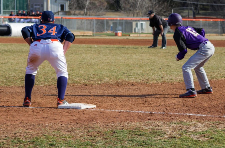 Junior Martin Radosevic covering first base at the four game series against Missouri Valley College.