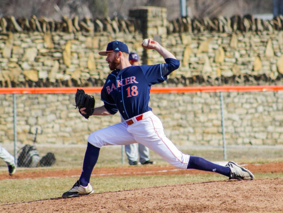 Senior William Edwards throwing game one of the four game series on March 17th here at Sauder Field in Baldwin City.