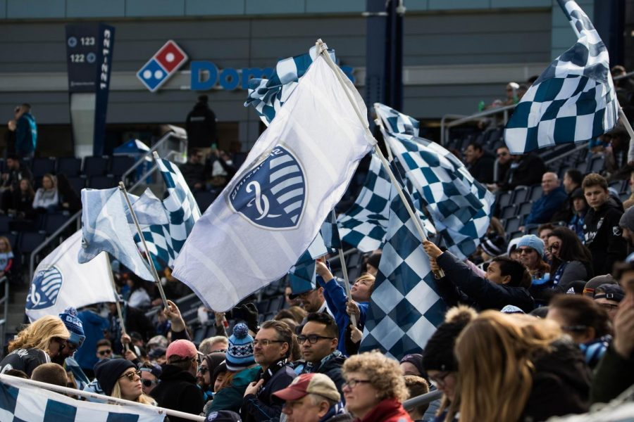Fans+cheer+on+Sporting+Kansas+City+as+they+match+up+against+the+Philadelphia+Union.+The+game+was+on+March+10+in+Children%27s+Mercy+Park.