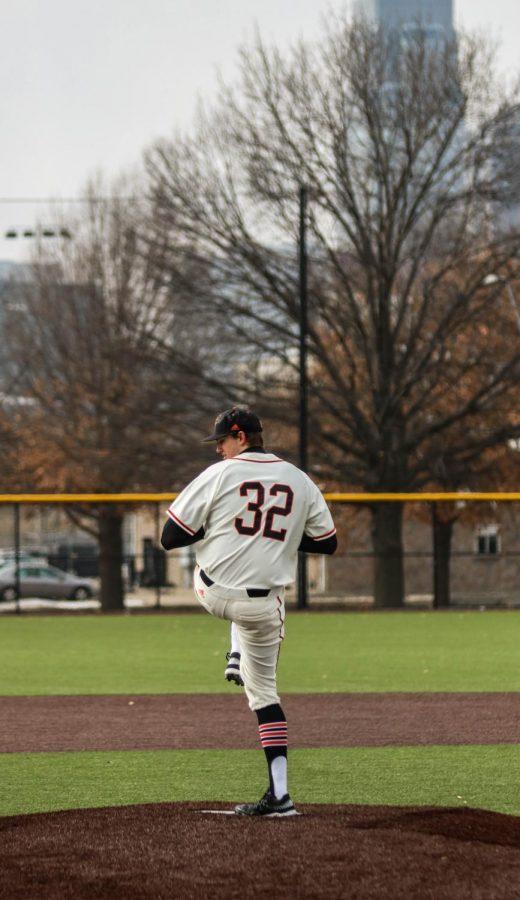 Junior, Brandon Gomer, closes against Midland University at the Urban Youth Academy in Kansas City.