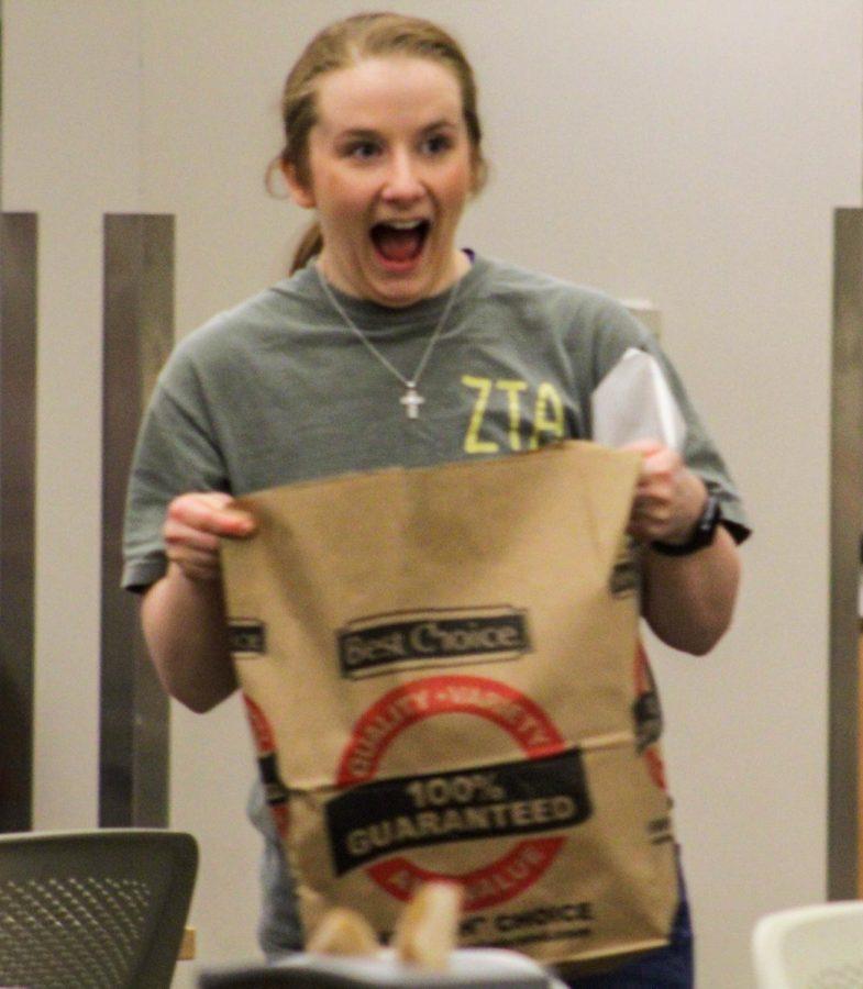 Junior Bailey Stiffler was excited about winning the first round of grocery bingo.