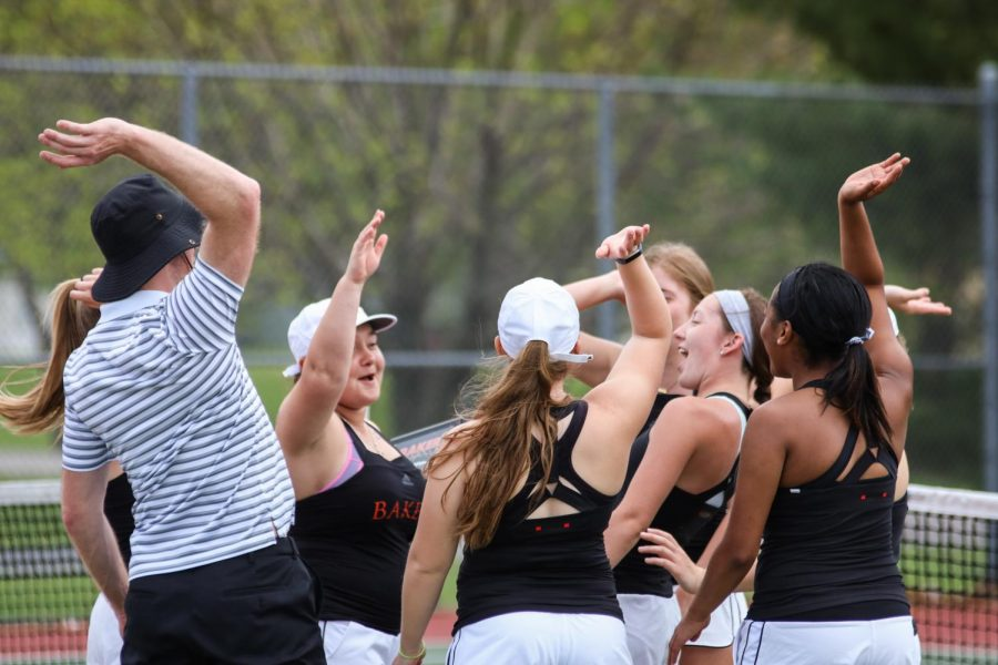 The Wildcats Tennis team gets excited going into senior night. The Cats fall to Concordia 2-7.