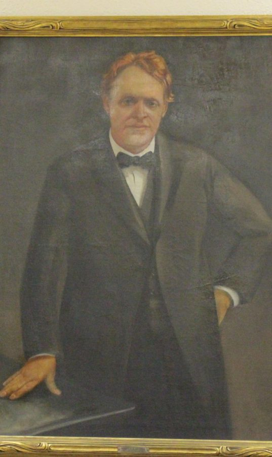 Bishop Quayle's portrait hanging in the Quayle Bible Collection.