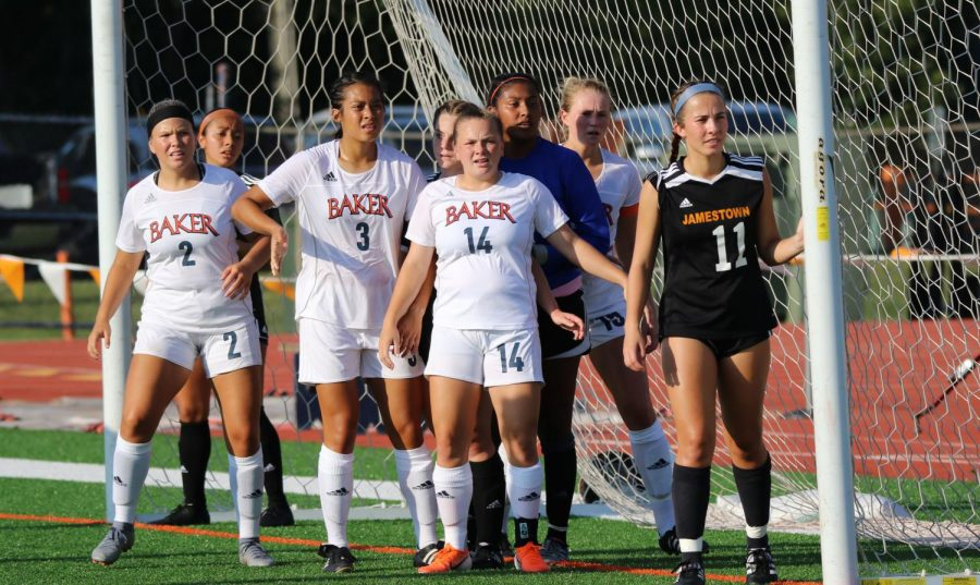 Baker+players+surround+the+goal+keepers+box+on+a+corner+kick.+The+%27Cats+were+able+to+slot+one+goal+home+in+overtime+with+a+total+of+20+shots+and+eight+on+target+against+the+University+of+Jamestown.