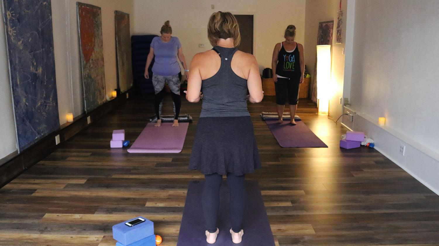 Co-owner of Om Grown Lora Rimmer gives session based on breath and body 8:30 a.m. on Thursdays. Rimmer looks to reach Baker student body with athlete session on Saturdays.