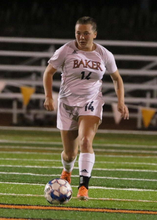 Freshman Haleigh Harris finds space in the middle of the field to create an offensive push. Harris made the Bruins goalkeeper make two saves on two shot attempts.