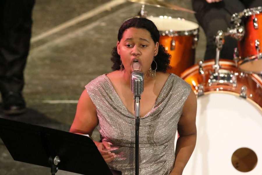 Vocalist and junior Kara Smith performs Satin Doll with the Baker Jazz Ensemble.