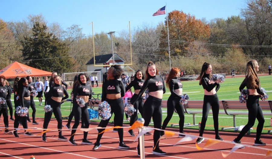 The dance team putting on a pre-game show for the crowd. They had a great showing for the Saturday football game.