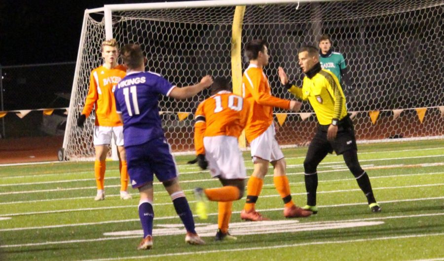 Both of the teams seemed to disagree with some of the referee's calls at some point during the match. The game between Baker University and Missouri Valley College took place on Nov. 8 at 7 p.m.