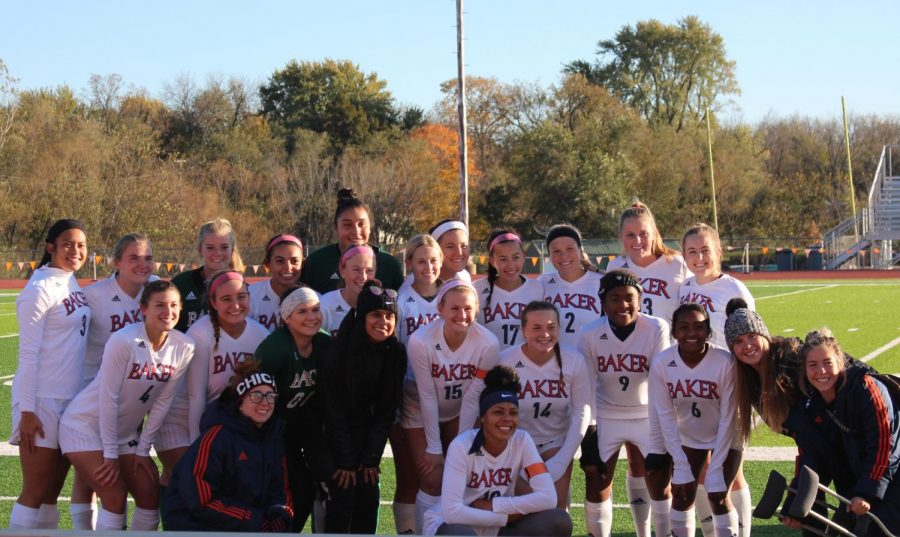 The women's soccer team after a victory on senior night. The women's soccer team won 4-1 against Graceland University.