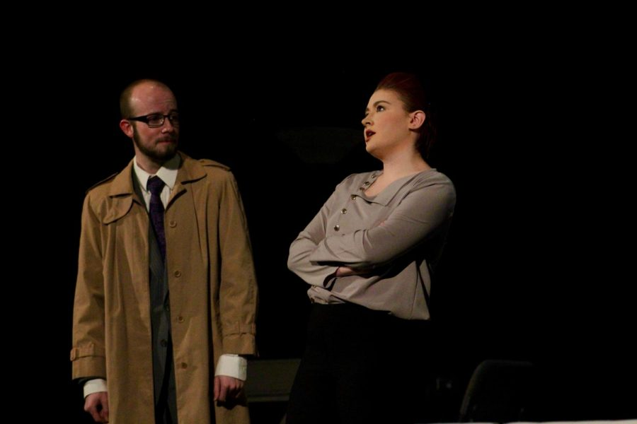 Sophomores Drew Cheek and Kenzie Kuhlmann staring as Judge Brack and Hedda Gabler. The show was performed Nov. 7-10 in Rice auditorium.