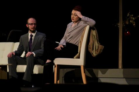 "Sophomores Drew Cheek and Kenzie Kuhlmann staring as Judge Brack and Hedda Gabler. The theatre department presented a modern twist on the play ""Hedda Gabler."""