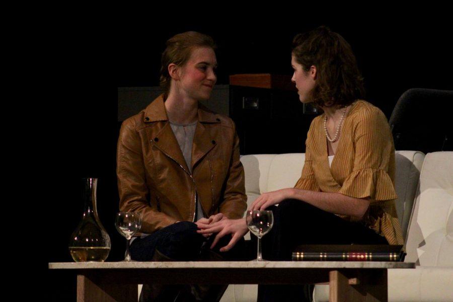 Junior Makenzie Garber and Freshman Sami Aceto having an intense conversation in the play