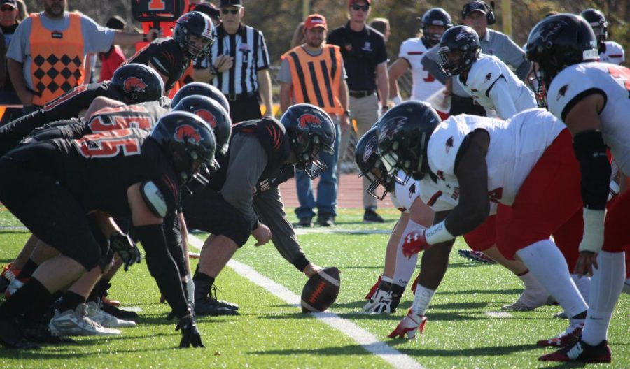 The Baker University and the Benedictine College football teams getting ready for the game. The game took place at 1 p.m. on Nov. 9.