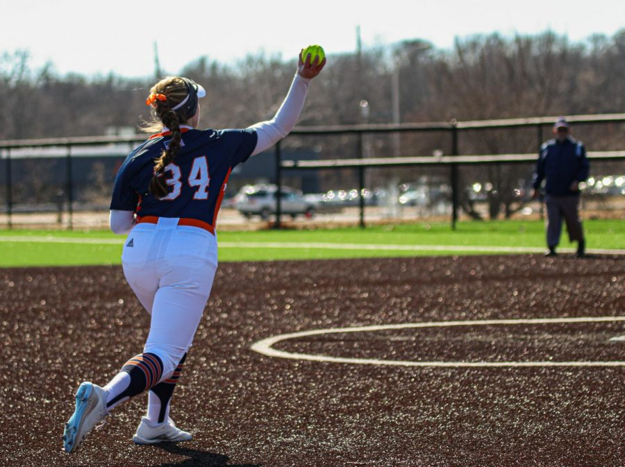 Sophmore Skylar Gorrell throws out a runner during Friday's game. With an impressive glove at third base, Gorrell helped keep the Midland Warriors scoreless in game one.