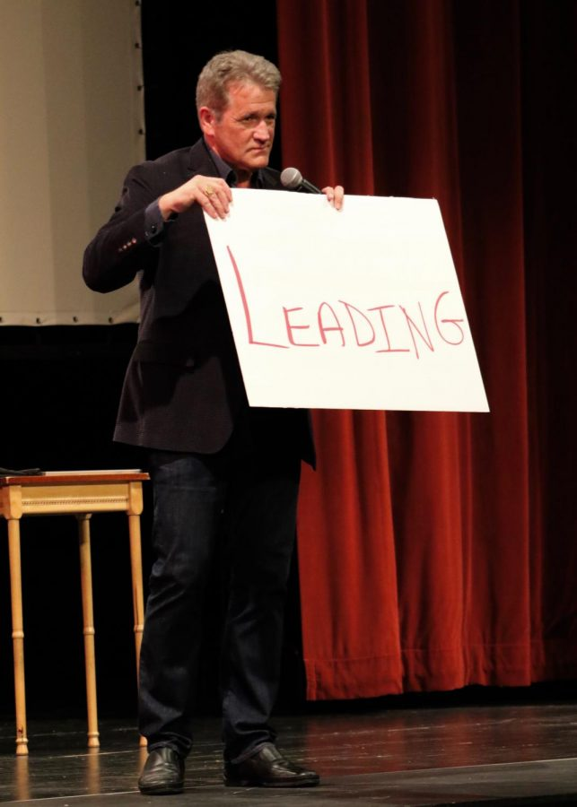 Mentalist Craig Karges first routine involved the most used words in the english language and one participant from the audience. The word that the participant had her hand on from a random newspaper was written on the board prior to her coming on stage.