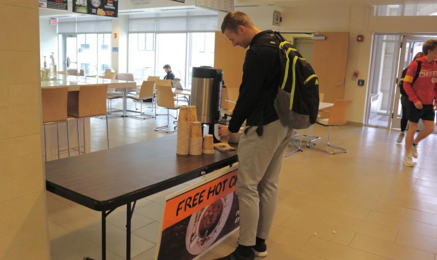 Student Activities Council presents hot chocolate for students on Nation Hot Chocolate day. SAC provided an event each day for returning students to participate in.