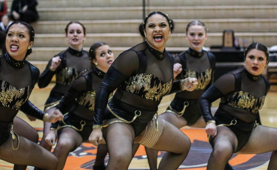 Sophomore Jaila Randle (middle) dances alongside her team in the regional qualifier. Randle was one of nine dancers to tryout for the title of NAIA All-American. Results will be finalized next week.