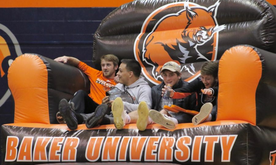Student Activities Council promotes student involvement at sporting events and give students ability to win prizes. Students can watch the dual from the large inflatable chair for each match up.
