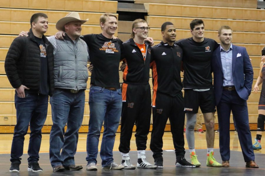 During stoppage members of Baker Alum and present athletes were recognized for their NAIA All-American achievements. There were 24 recognitions among these individuals.