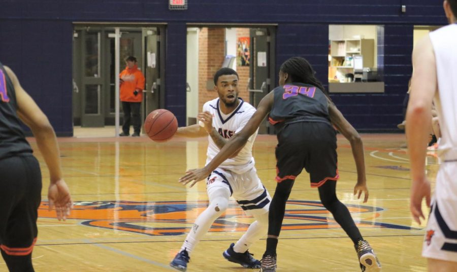 Sophomore Jalen Patterson one on one with a Vikings defender. Patterson joins Xavier Elam with 21 points in the victory over Missouri Valley College in Collins Gymnasium.