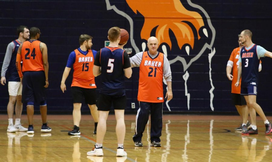 During halftime of both men's and women's basketball students played teachers and staff. Students came out victorious over the baker faculty.