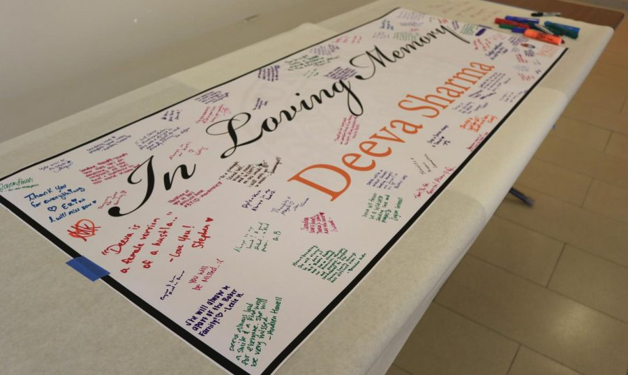 Students+and+faculty+came+together+in+the+Long+Student+Center+on+Feb.+25+to+sign+a+banner+to+honor+Admissions+Counselor+Deeva+Sharma.