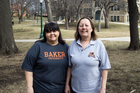 Becky Potter (left) and Kelly Garrison (right) work in the Baker mailroom. Potter has been working in the mailroom for eight years and Garrison is coming up on her 23rd anniversary working at Baker University.