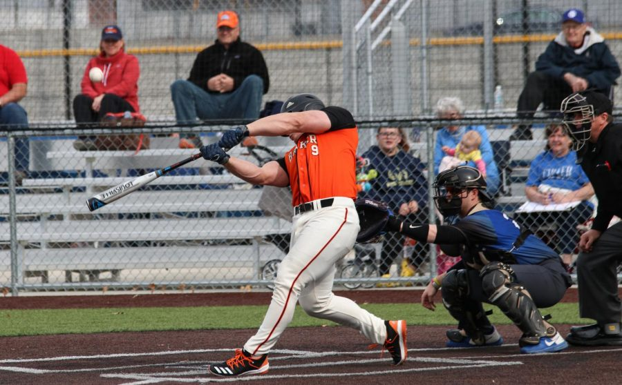 Junior Brian Hawkins squares up a ball Sunday against Culver-Stockton. Despite eight hits in game one, Baker was scoreless losing 5-0.