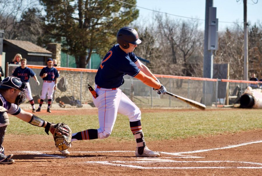Senior Brian Wircenske during his first at-bat in game one. Wircenske had one hit and one RBI in game one versus Concordia.