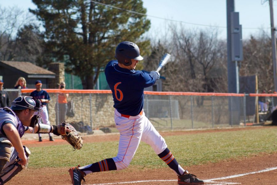 Sophomore Hunter Gudde at his first at-bat versus Concordia. Gudde is a transfer from Kansas University and has been playing for the Wildcats the last two seasons.