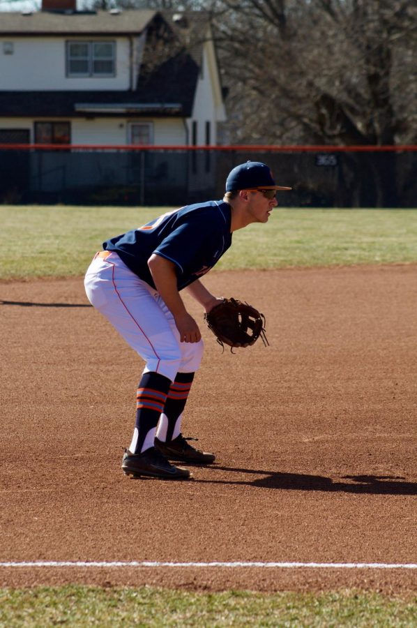 Sophomore Taylor Voss getting set at third base. Voss played in game one of the two game series against Concordia. The 'Cats are 0-4 in the Heart of America Conference.