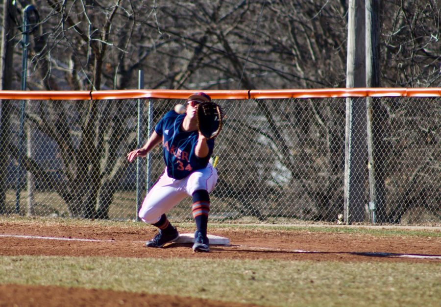 Senior Martin Radosevic covering first base to get the out. Baker is now 5-14 after falling to Concordia on March 3.