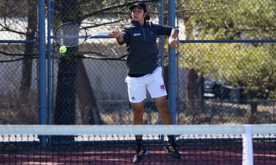 Sophomore Alejandro Hernandez plays in the number one role for Baker tennis. Hernandez faces the number one Ottawa player, Claudio Quinones and loses.
