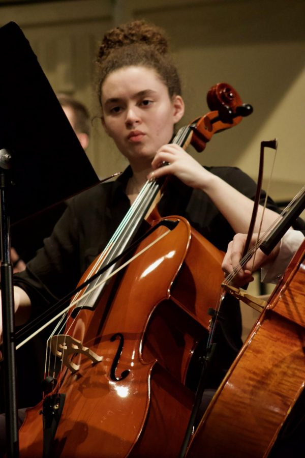 Freshman Micayla Houser performing during the orchestra concert. The concert was held in Rice Auditorium on March 10.