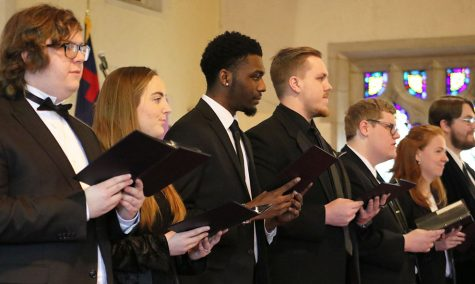 Speech choir performs for the last time in a special service held in Baldwin First United Methodist Church. Professor of Communications and Director of Speech Choir Susan Emel brought speech choir alum to perform as a group.