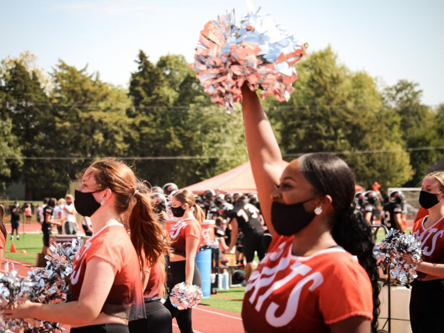 Baker Cheer and Dance offer unwavering support to Baker Athletics. Coach Lynsey Payne was named the Heart of America Coach of the Year after the team won the Heart of American Conference Championship in the spring.