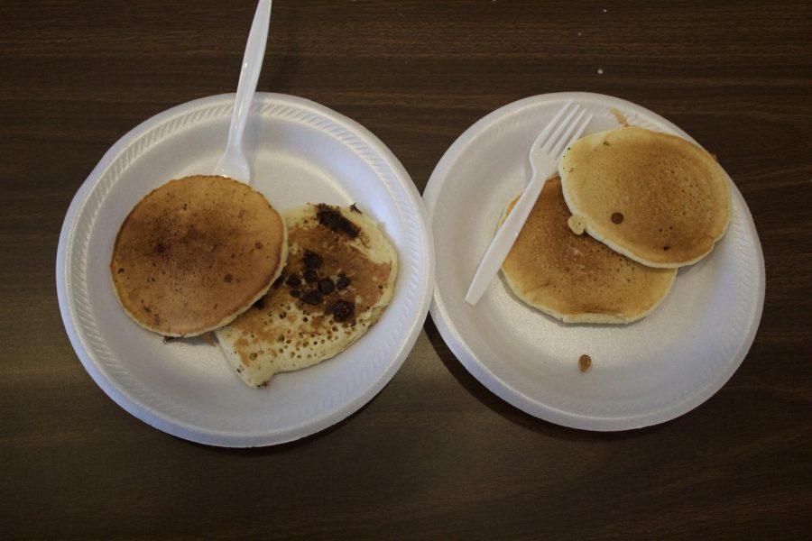 Visitors had the option of either buttermilk or chocolate chip pancakes.