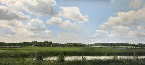 Horton's Oil on Linen work titled Wakarusa Pond 2020.