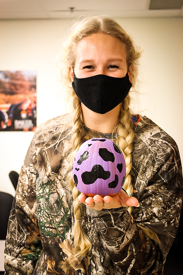 Sophomore Savannah Nott also showcased her completed pumpkin.