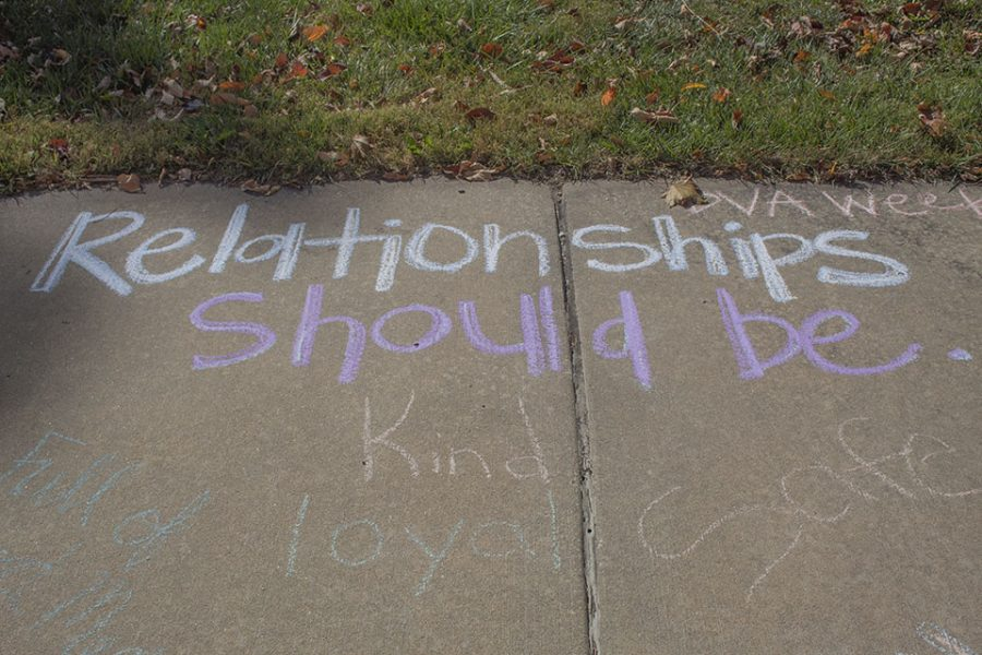 Positive messages were written in chalk across campus to highlight the importance of domestic violence awareness.