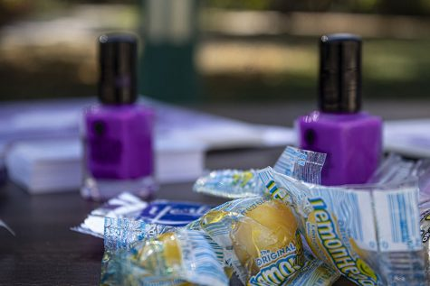 Students were encouraged to paint a nail purple to show their support for those who have experienced domestic violence in their own lives.