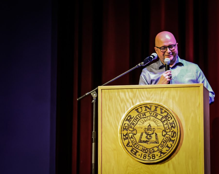Tim Byers speaking at his last lecture,
