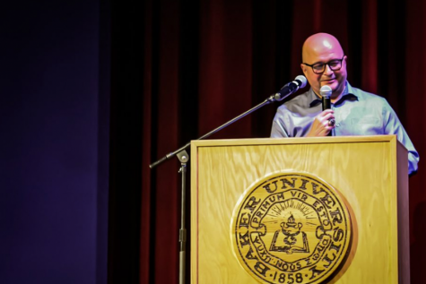 """Tim Byers speaking at his last lecture, """"Sometimes you have to leave to be home."""""""