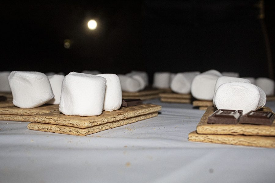 ZTA lays out fresh s'mores kits for students.
