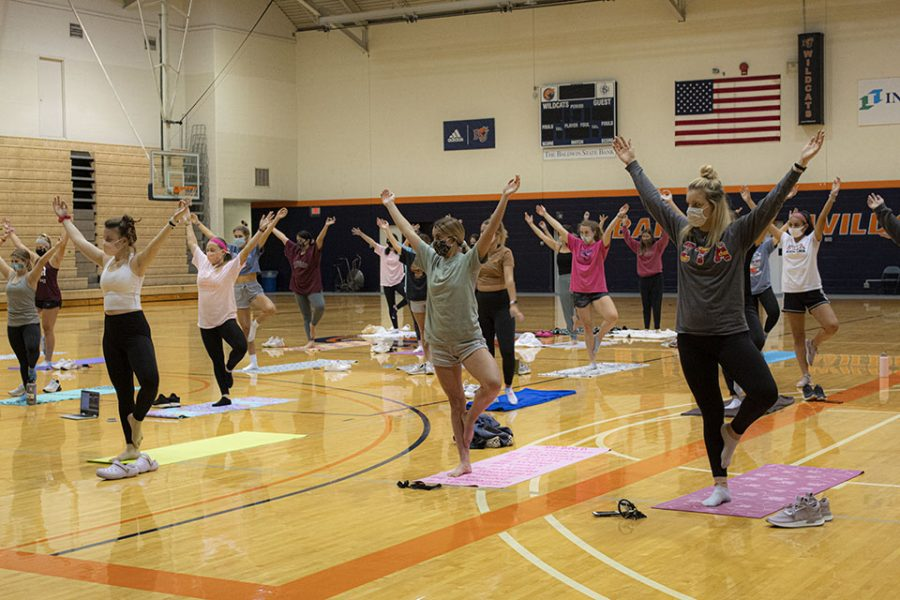 A yoga class was hosted in Collins Gym.