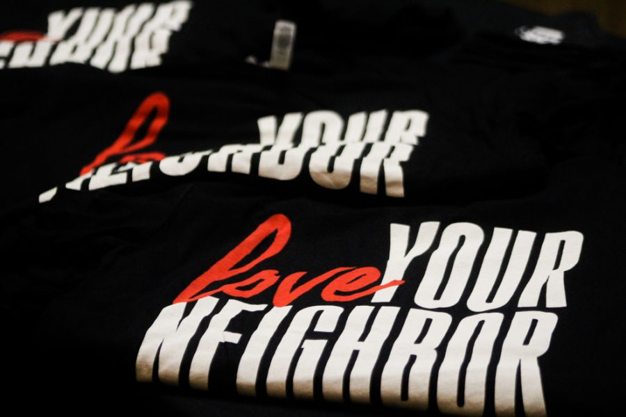 T-shirts were being sold in the lobby of Rice Auditorium to remind students that love is stronger than hate.