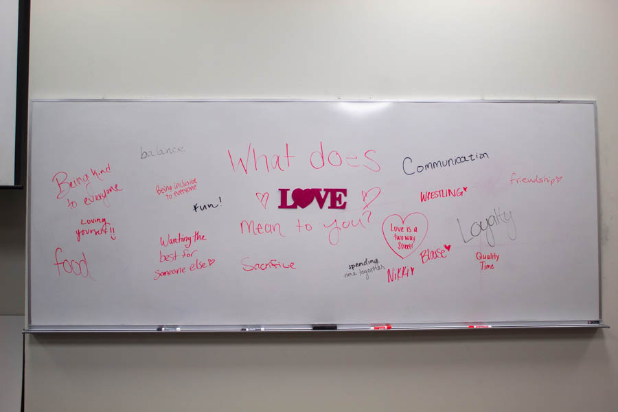 Alpha Chi Omega celebrated Galentine's in Mabee 100 on February 11 by having visitors write what love means to them on the whiteboard.