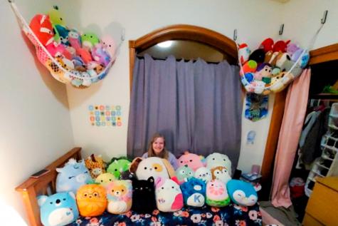 Senior Kaeli Whitener showcases her Squishmallow collection